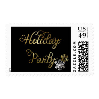 Snowflakes on Black Holiday Party Postage