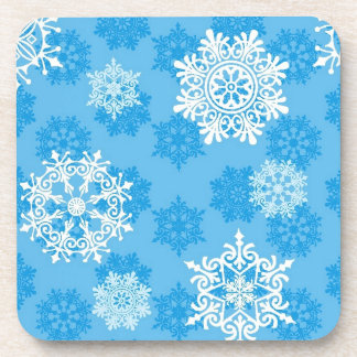 Snowflakes on Blue Background Drink Coaster
