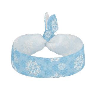 Snowflakes on Blue Background Hair Ties