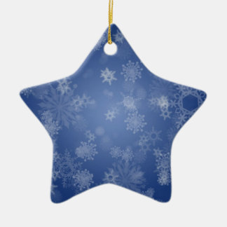 Snowflakes on Blue Ceramic Ornament