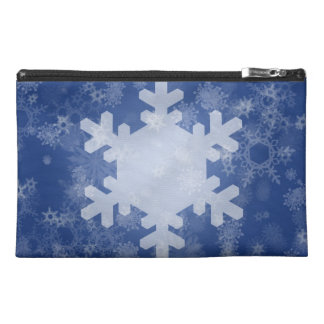 Snowflakes on Blue Christmas Design Travel Accessory Bag