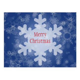 Snowflakes on Blue Christmas Design Postcard