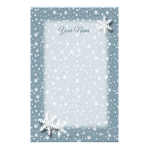 Snowflakes on Blue Gray Border Stationery
