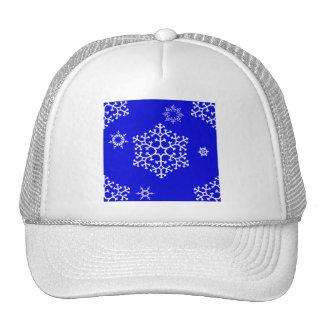 snowflakes_on_blue trucker hat