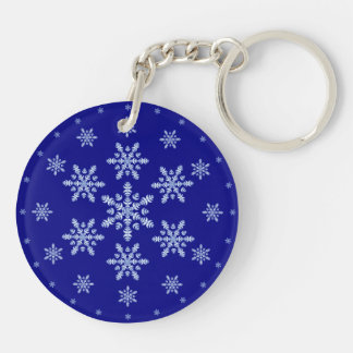 Snowflakes on Blue Keychain