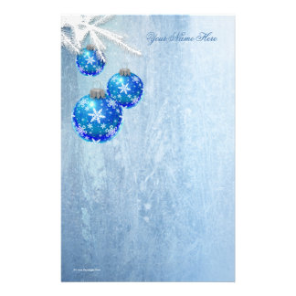 Snowflakes on Blue Ornaments Frost Stationery