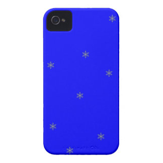Snowflakes on Blue Pattern iPhone4 Case
