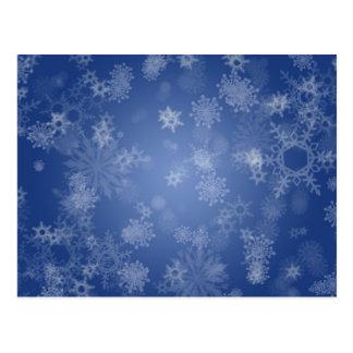 Snowflakes on Blue Postcard