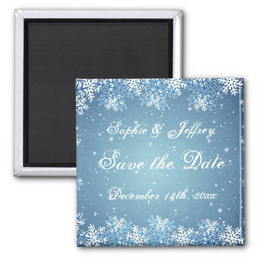Snowflakes on blue Save the Date Magnet