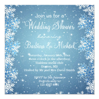 Snowflakes on blue snowy background Wedding Shower Personalized Invitation