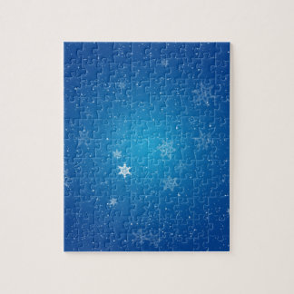 Snowflakes on Blue Sparkles Jigsaw Puzzles