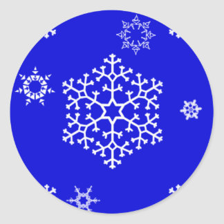 snowflakes_on_blue classic round sticker
