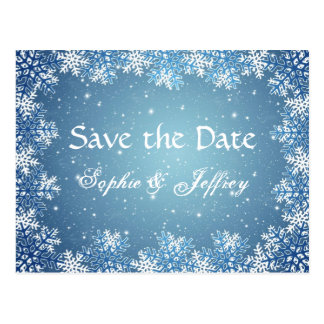 Snowflakes on blue wedding Save the date Postcard