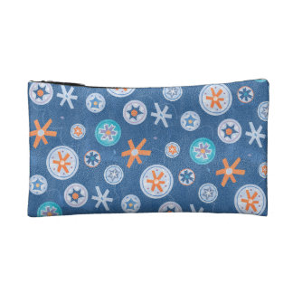 Snowflakes on Blue Winter Christmas Holiday Snow Cosmetic Bags