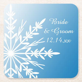 Snowflakes on Blue Winter Wedding Square Paper Coaster