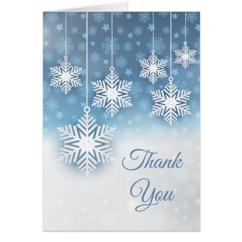 Snowflakes on blue Winter Wedding Thank You Card Sales 7851