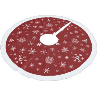 Snowflakes on Christmas Red Background Tree Skirt