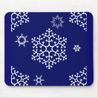 snowflakes_on_dark_blue mouse pad