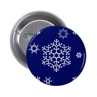 snowflakes_on_dark_blue pin redondo de 2 pulgadas