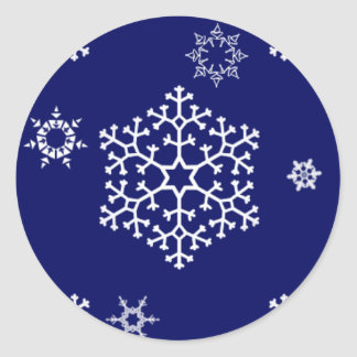 snowflakes_on_dark_blue classic round sticker