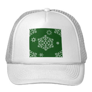 snowflakes_on_dark_green trucker hat
