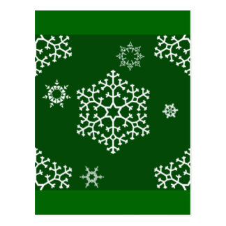 snowflakes_on_dark_green postcard