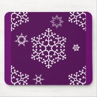 snowflakes_on_dark_magenta mouse pad