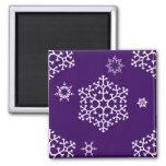 snowflakes_on_dark_purple 2 inch square magnet