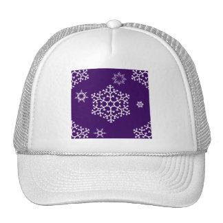 snowflakes_on_dark_purple trucker hat