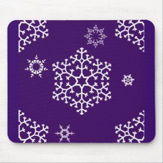snowflakes_on_dark_purple mouse pad