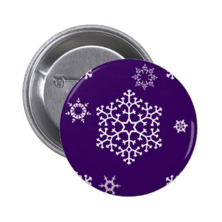 snowflakes_on_dark_purple pin redondo de 2 pulgadas