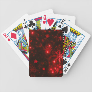 Snowflakes on Deep Red Background Bicycle Playing Cards