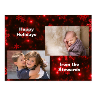 Snowflakes on Deep Red Holiday Photo Postcard
