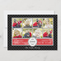 Snowflakes on Geometric Christmas Photo Collage Holiday Card
