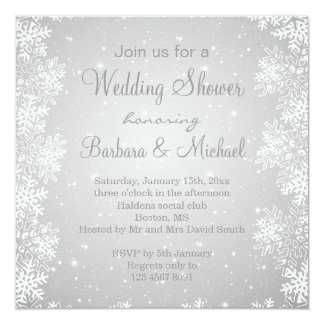 Snowflakes on gray background Wedding Shower Card
