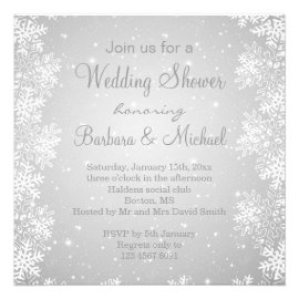 Snowflakes on gray background Wedding Shower Personalized Invite