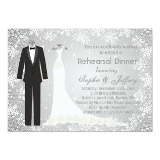 Snowflakes on gray Christmas Rehearsal Dinner Invitation