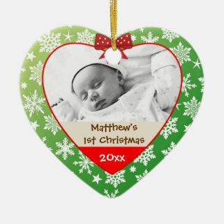 Snowflakes on Green Baby s Christmas Ornament