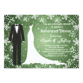 Snowflakes on green Christmas Rehearsal Dinner Card