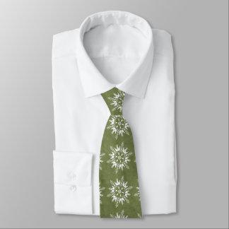 Snowflakes on Green Neck Tie
