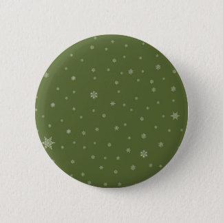 Snowflakes on Green Pinback Button