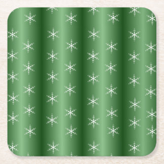 Snowflakes on Green Square Paper Coaster