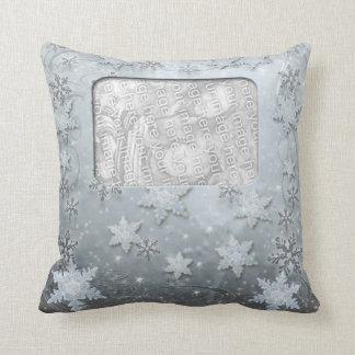 Snowflakes on Ice Throw Pillow