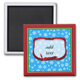 Snowflakes on Light Blue Background 2 Inch Square Magnet