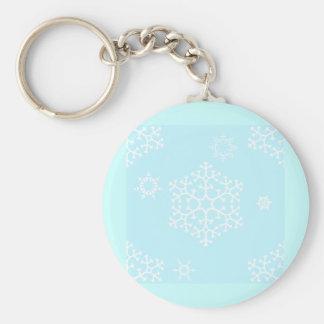 snowflakes_on_light_blue basic round button keychain