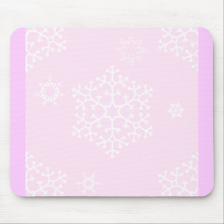 snowflakes_on_light_pink mouse pads