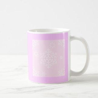 snowflakes_on_light_pink coffee mugs