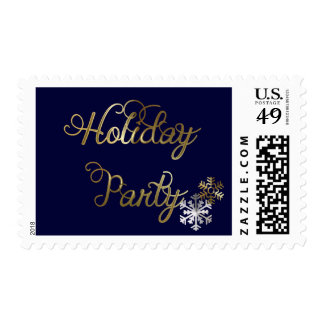 Snowflakes on Navy Blue Holiday Party Postage
