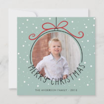 Snowflakes on Pastel Green | 2 Photos Christmas Holiday Card
