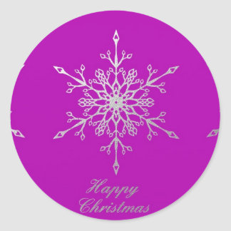Snowflakes on Pink 2 Classic Round Sticker
